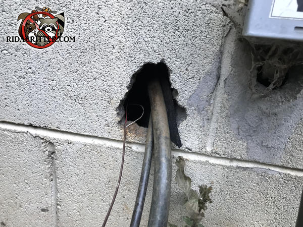 There is a gap between the air conditioning pipes and the hole in the wall they were passed through