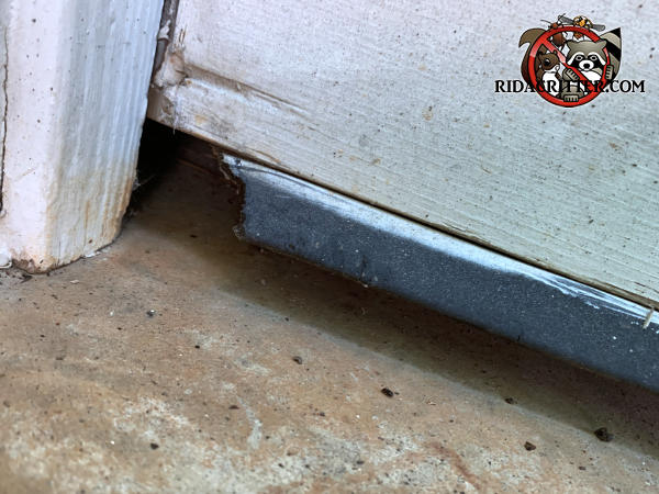 One inch gap between the garage door and the pavement and a hole gnawed through the seal next to the stained door trim at a house in Suwanee Georgia
