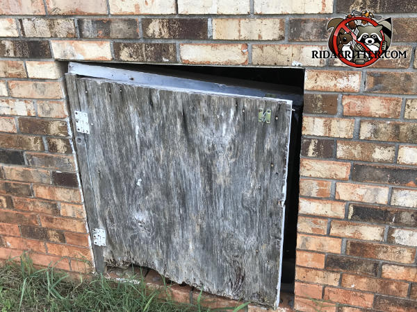 Poorly fitting plywood door has a broken top frame and large gaps on three sides that allowed rats to easily get into the crawl space of a house in Newnan Georgia