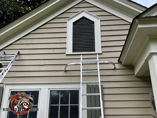 Screening applied over a pentagonal gable vent to keep snakes out of the attic of a house in Griffin Georgia.