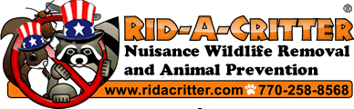 Logo with text: Rid-A-Critter Nuisance Wildlife Removal and Animal Prevention - Telephone 770-258-8568
