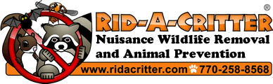 Logo text Rid-A-Critter Nuisance Wildlife Removal and Animal Prevention - Telephone 770-258-8568
