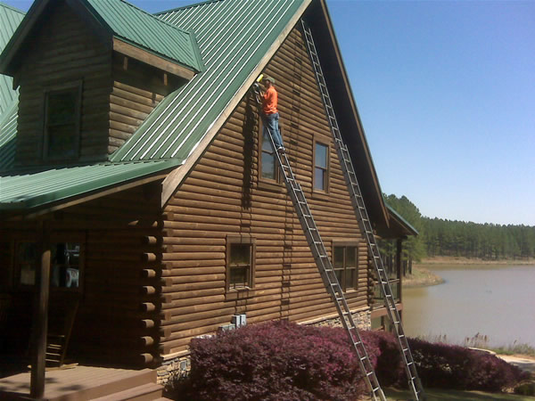 RAC tech on a ladder at a difficult carpenter bee job in Macon